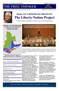 Guy Bertrand's Liberty-Nation Project, Business Plan to Achieve the Independence of Quebec while Conserving our Share of Canada
