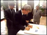 """Handwashing"" ceremony at Hull, Quebec: Communist Gilles Duceppe signs counter-oath to eliminate oath sworn to sit in federal parliament (1990)"