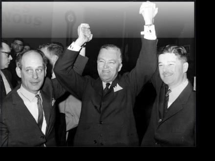 René Lévesque, Jean Lesage, Paul Gérin-Lajoie, 1960 minority win for the Quebec Liberals