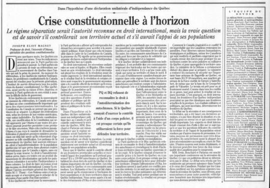 Crise constitutionnelle à l'horizon