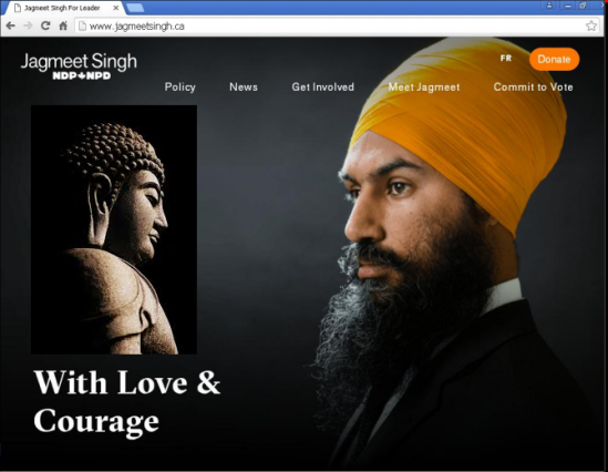 "Jagmeet Singh's ""Love and Courage"" campaign in 2017 for the federal NDP leadership"