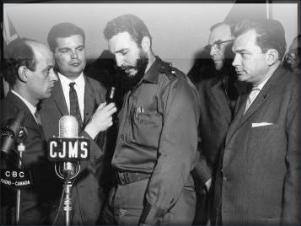 L-R: René Lévesque, Fidel Castro, Raymond Daoust (1959) Montreal