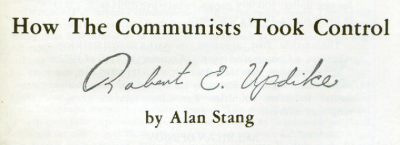 "Robert E. Updike (signature) on Stang's """"Canada"" offprint, 1971"