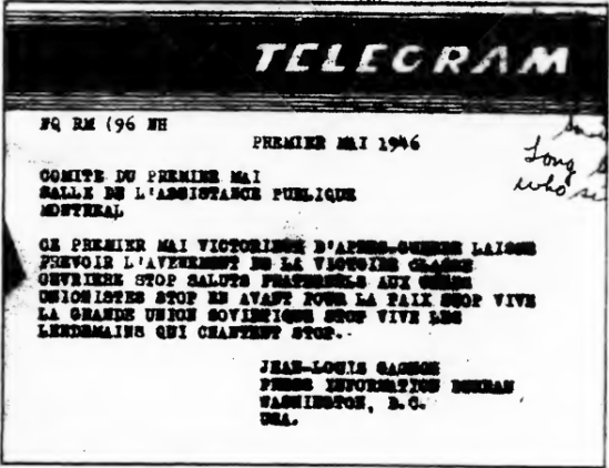 The Telegram published by Straight Talk! in March 1971
